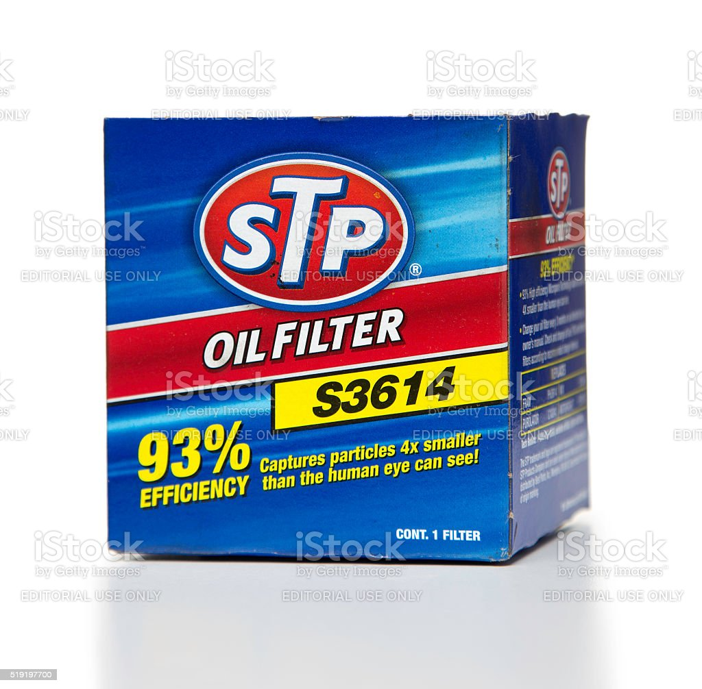 Stp Oil Filter S3614 Box Side Stock Photo - Download Image Now