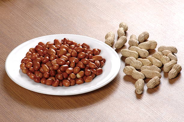 Oil Fried peanuts stock photo