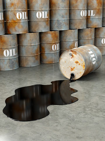 A rusty damaged oil barrel spilling oil on the ground. Very high resolution 3D render.