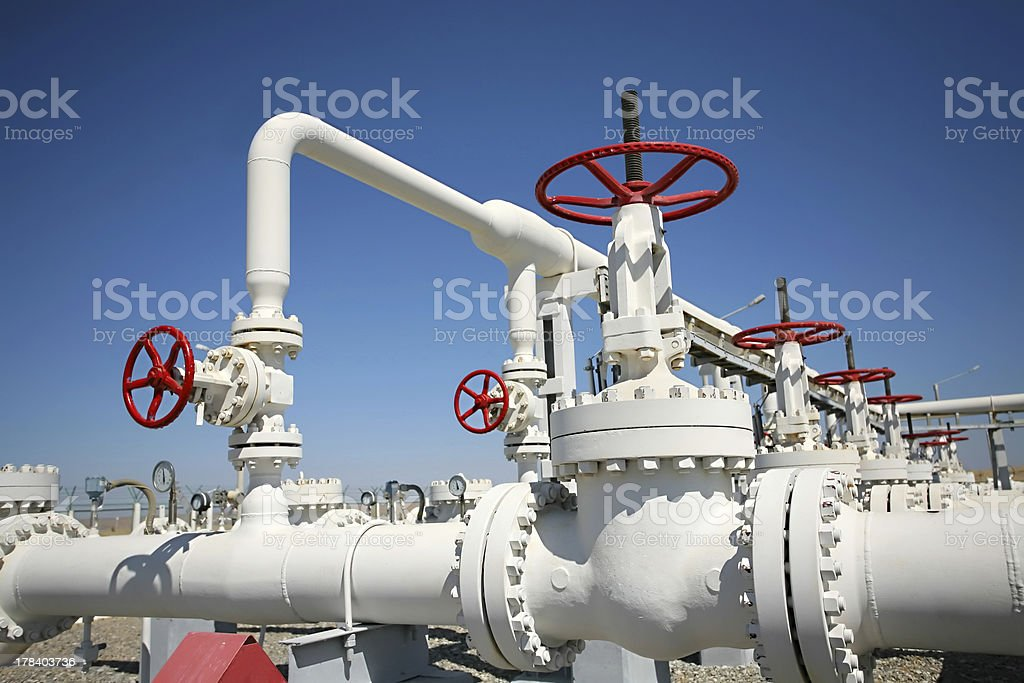 Oil gas processing plant stock photo