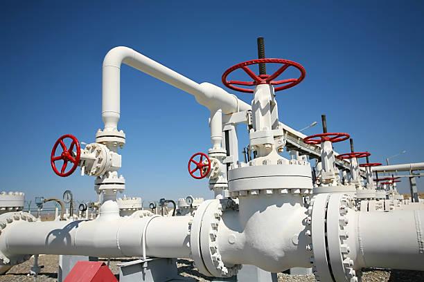 Fabbrica di produzione di petrolio e gas - foto stock