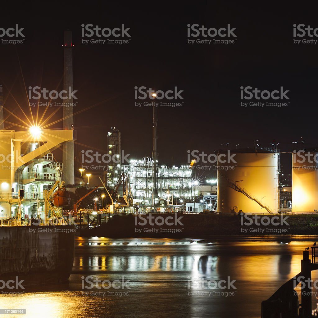 Oil harbor in the night royalty-free stock photo