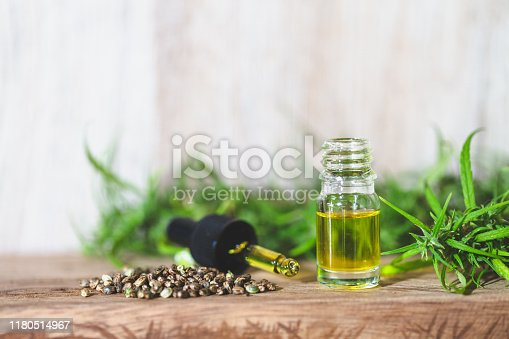 istock CBD oil hemp products, Medicinal cannabis with extract oil in a bottle. Medical cannabis concept 1180514967