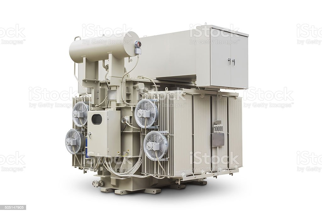 Oil immersed power transformer stock photo