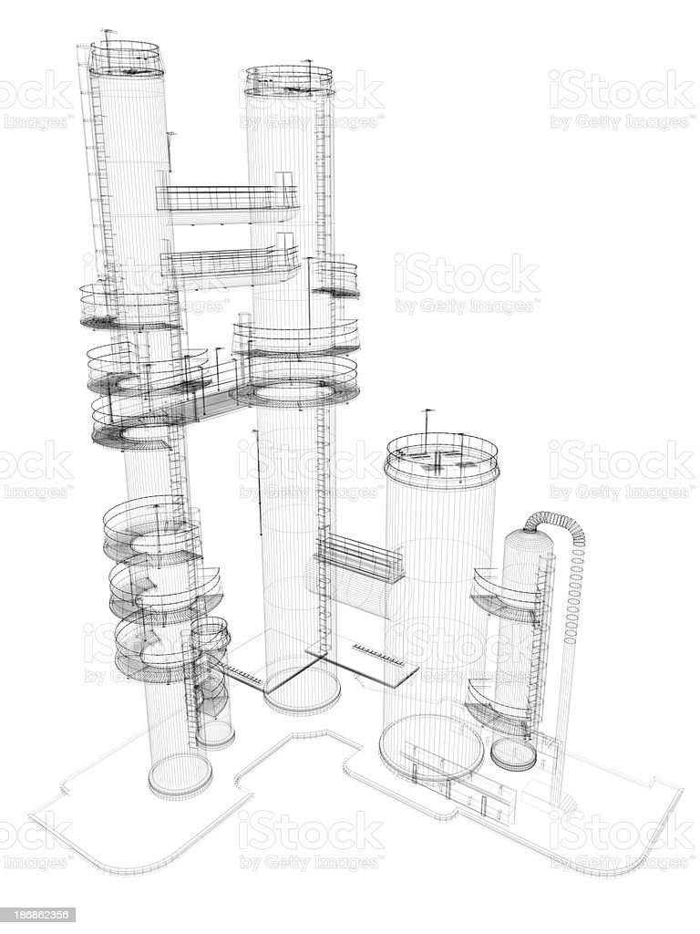 Oil Industry Storage Tank  Chimney Wire Frame stock photo