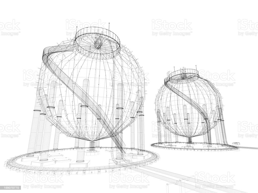 Oil Industry Storage Tank Wire Frame stock photo