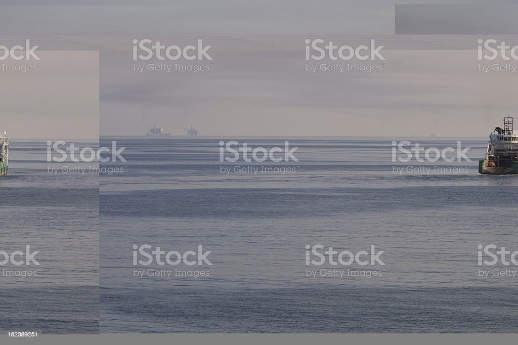 oil industry support boat royalty-free stock photo
