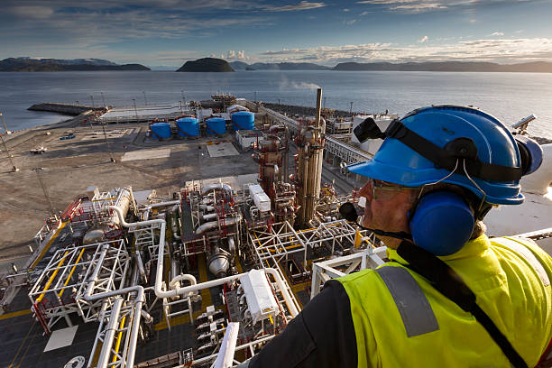Oil industry worker looking out on a plant. stock photo