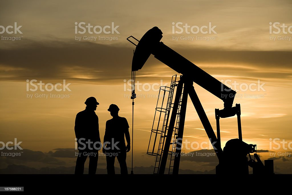 Oil Industry Workers Meeting royalty-free stock photo
