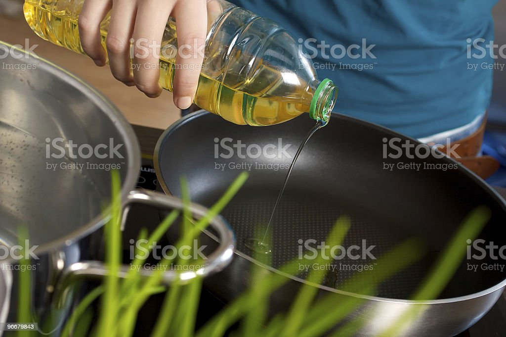 Oil into fryer royalty-free stock photo