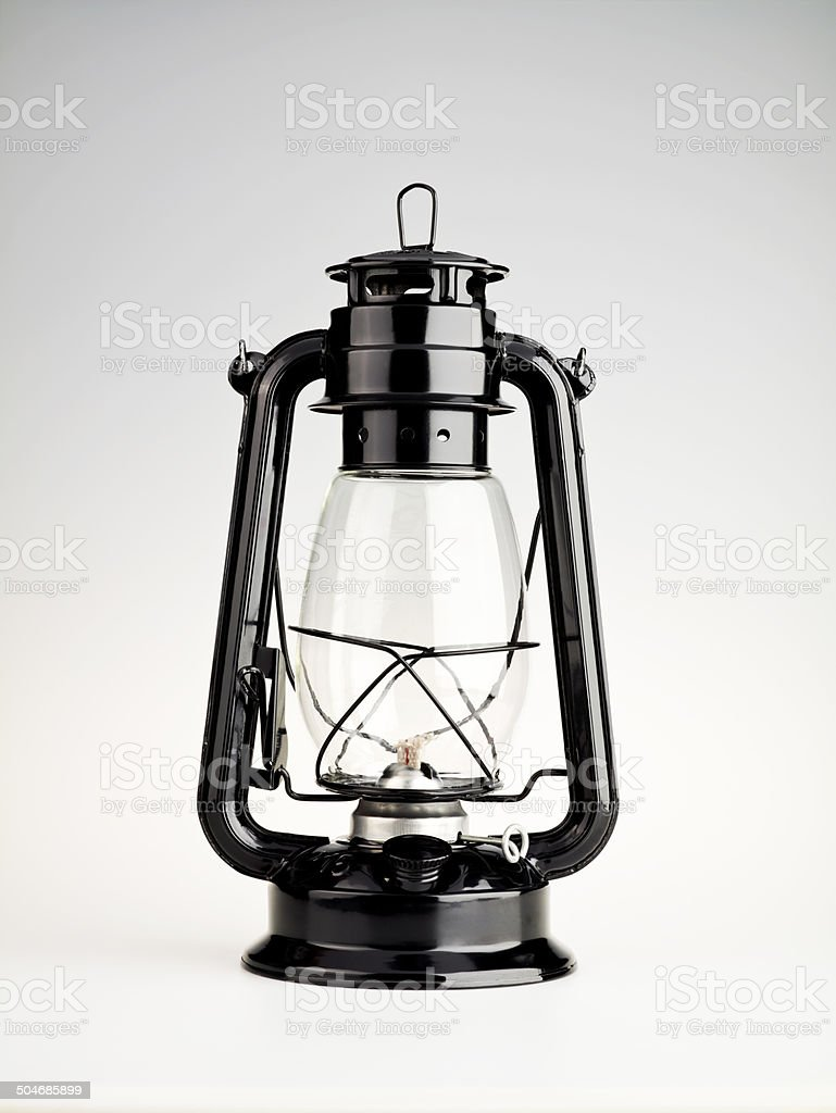 Oil Lamp On White stock photo