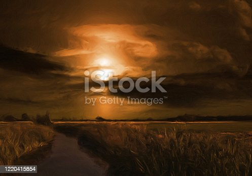 istock Oil landscape painting 1220415854
