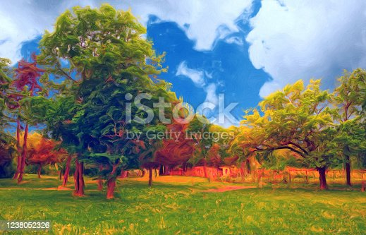 Oil landscape painting showing forest in spring.