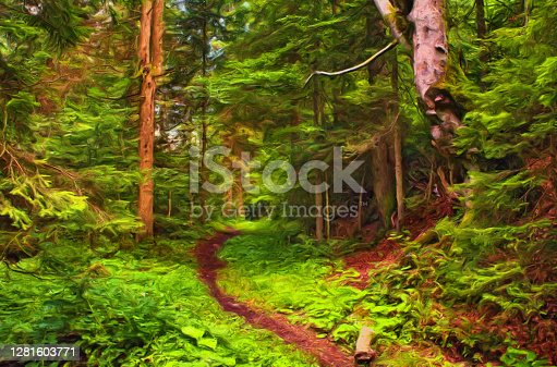 Oil landscape painting showing footpath through forest on a sunny summer day.