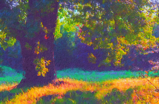 Oil landscape painting showing autumn forest on a sunny day.