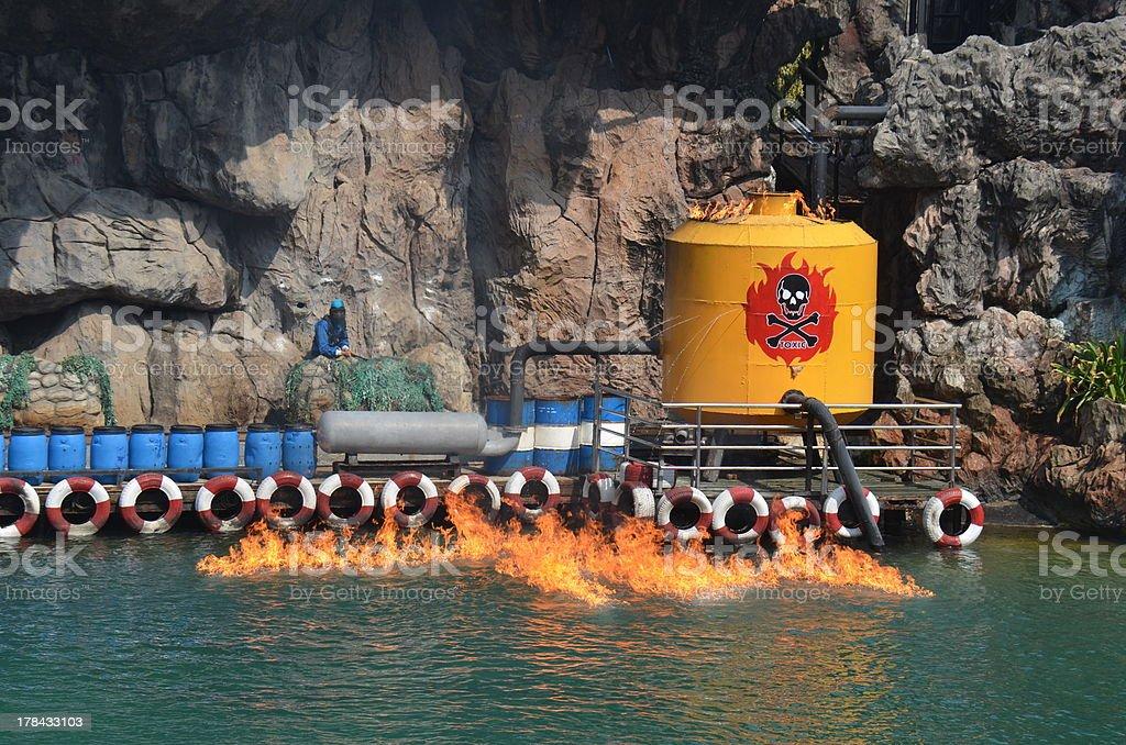 Oil leak fire water stock photo