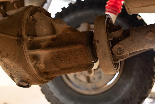 Oil Leak From Drive Shaft Of Light Truck Car Stock Photo