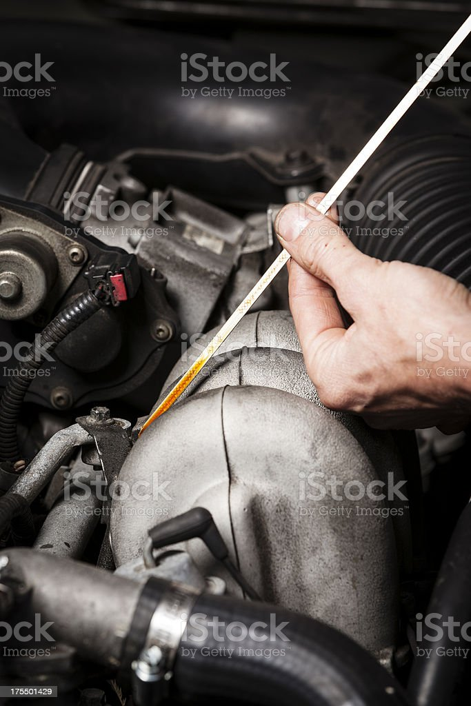 Oil level check royalty-free stock photo