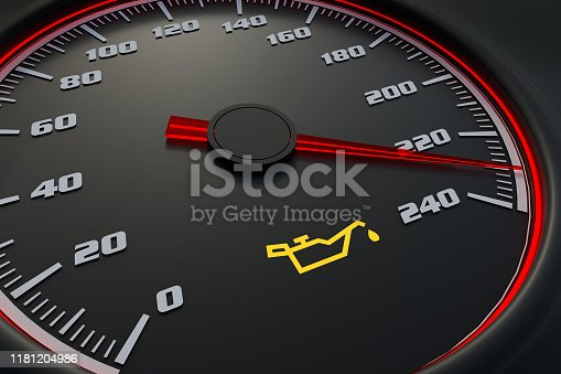 Oil light on car dashboard. 3D rendered illustration.