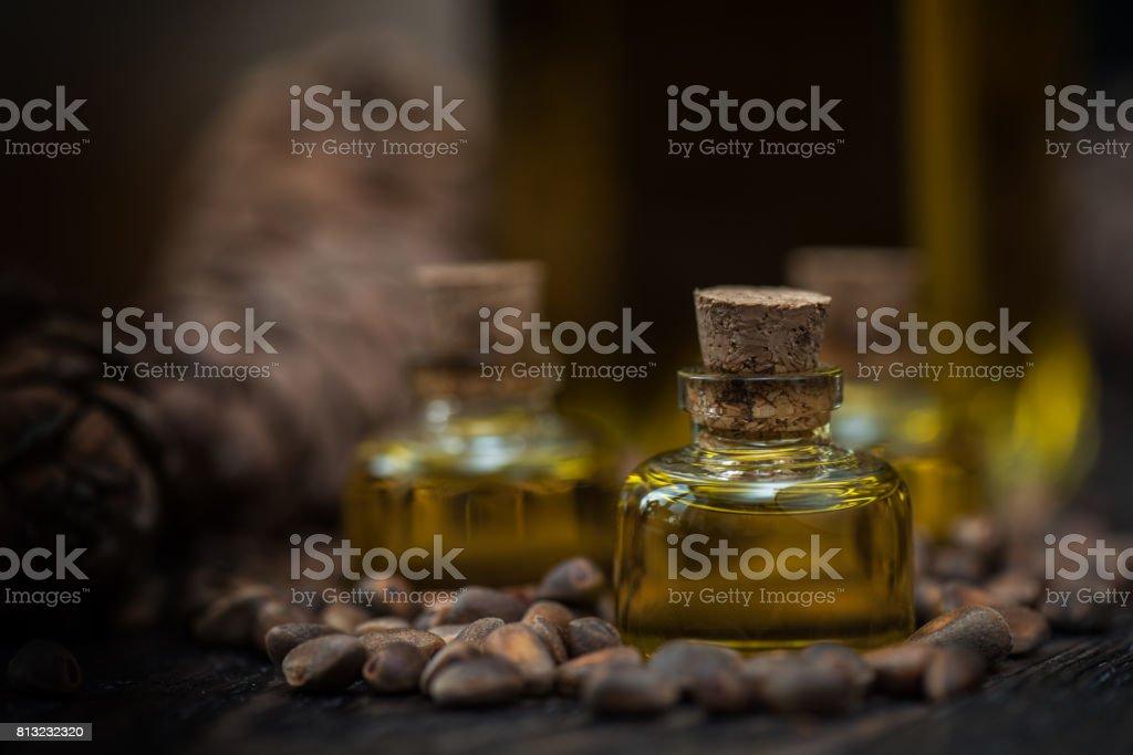 Oil of cedar nuts stock photo