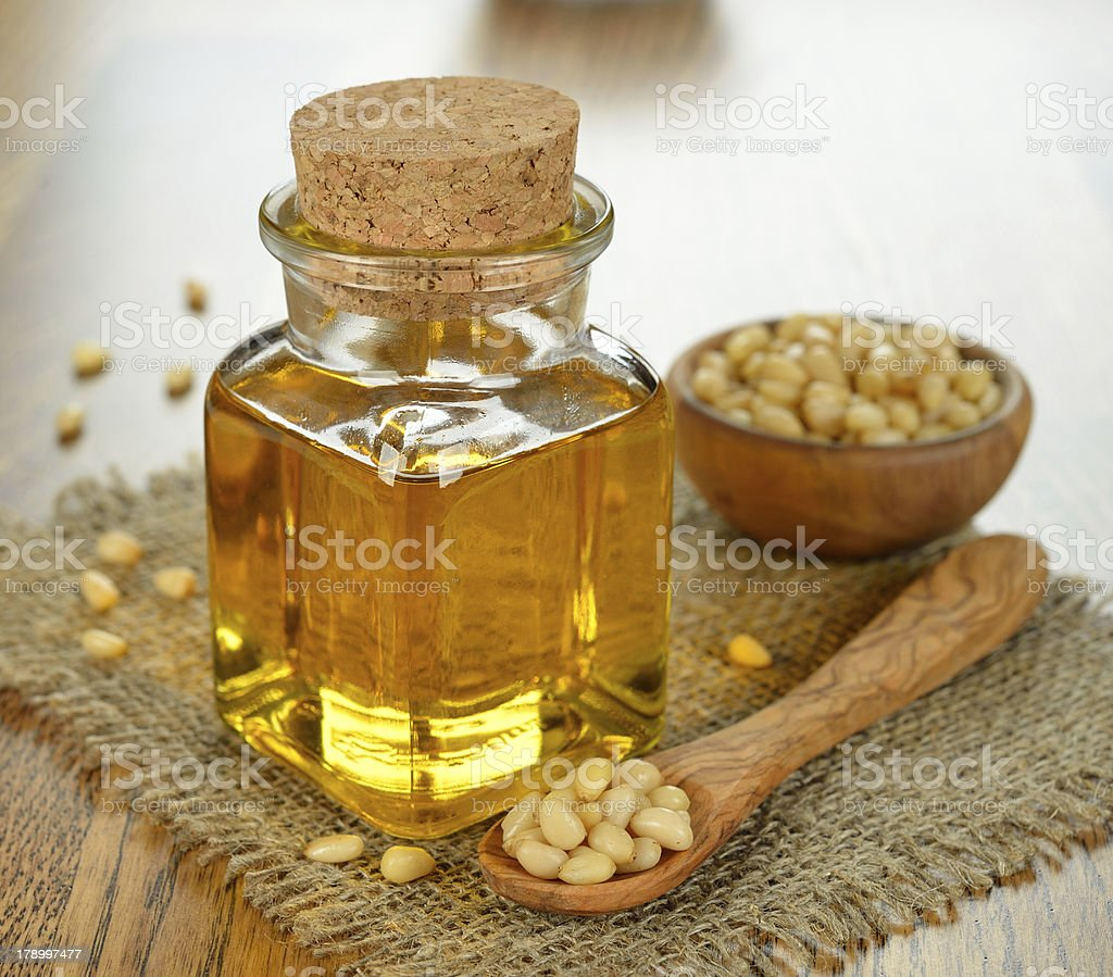 Oil of pine nuts royalty-free stock photo