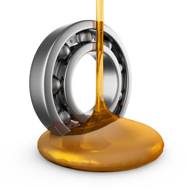 oil on bearing engine oil stream flows to the bearing. 3d render. ball bearing stock pictures, royalty-free photos & images