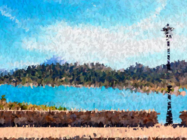 Oil paint and effect on landscape stock photo