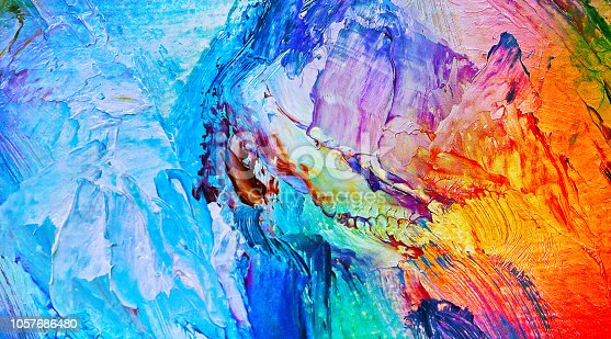 istock Oil paint and Macro close up of different color oil paint. colorful acrylic 1057686480