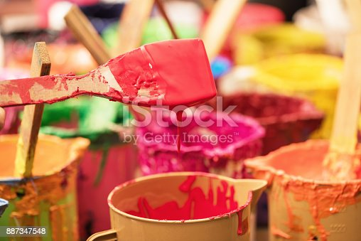 istock Oil paint and paint brushes 887347548