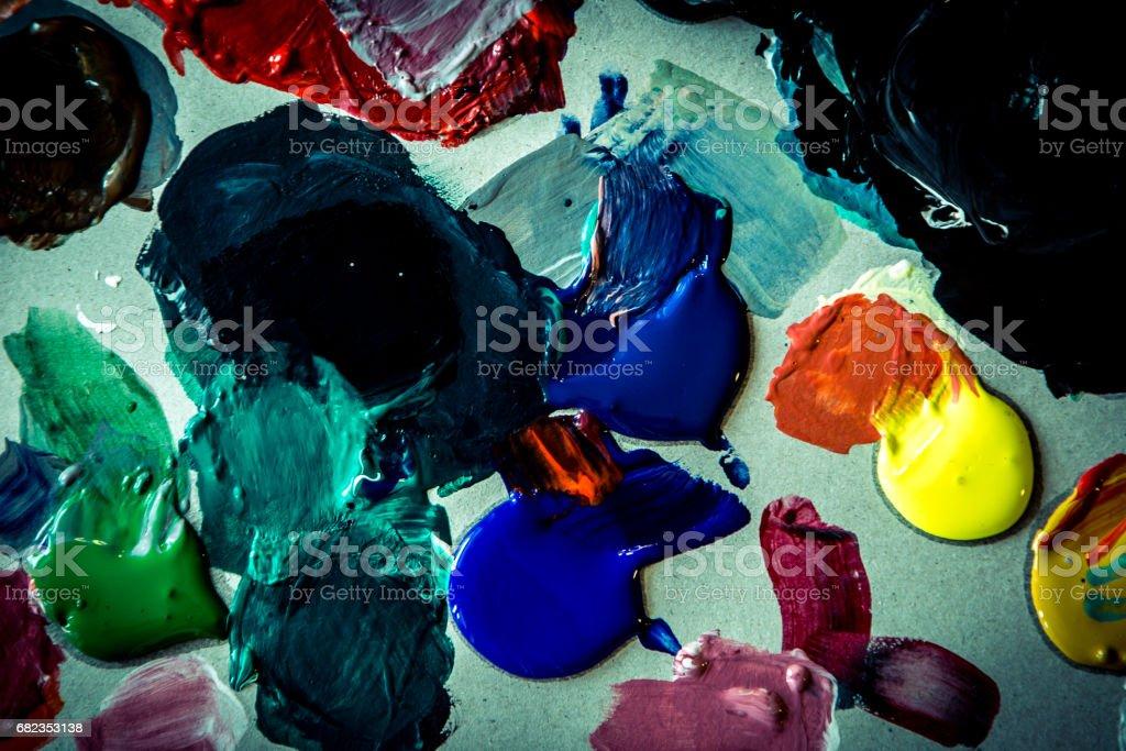 oil paint color palette royaltyfri bildbanksbilder