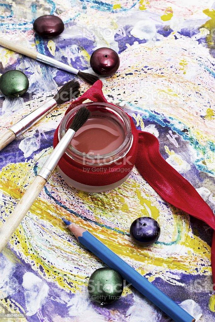 oil paint four colors and old brush royalty-free stock photo