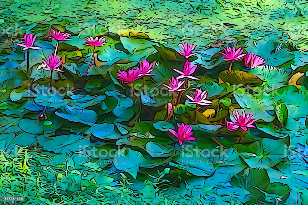 Oil paint of red water lily, artistic image stock photo