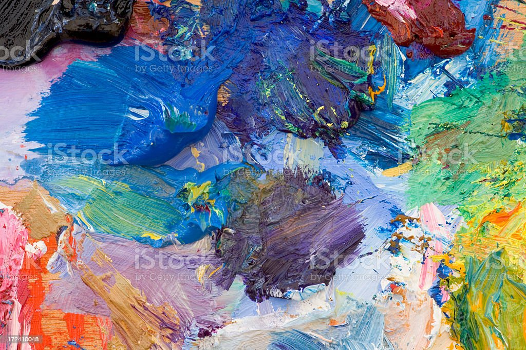 Oil paint palette of various colors stock photo