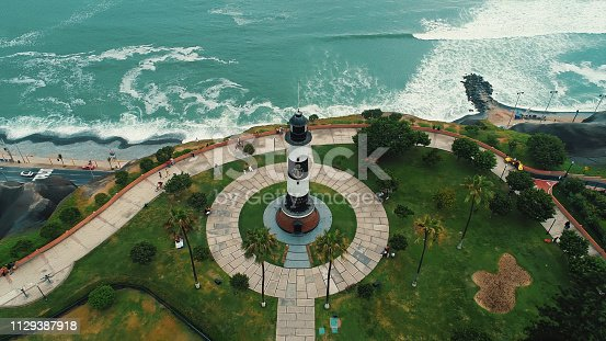 Panoramic aerial view of Miraflores district coastline in Lima, Peru during the summer