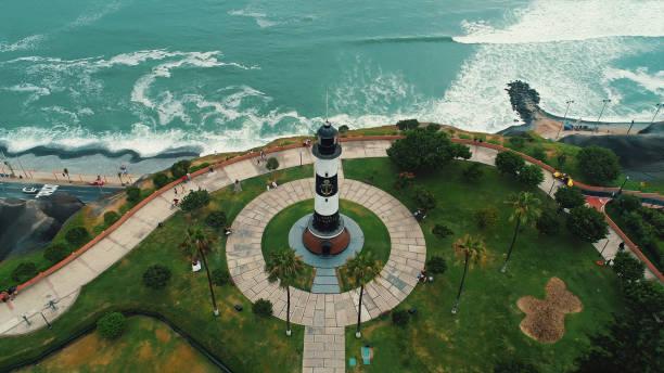 oljefärg panorama flygfoto över miraflores-distriktet kustlinjen i lima, peru. - peru bildbanksfoton och bilder
