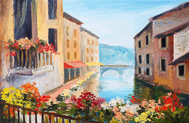oil painting, canal in venice, italy, famous tourist place, colorful - bilder landschaften stock-fotos und bilder