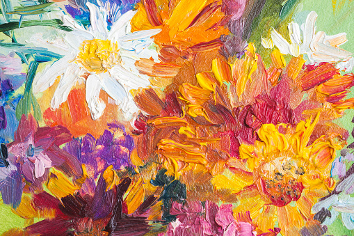 Oil painting, closeup fragment with colorful bouquet of summer flowers