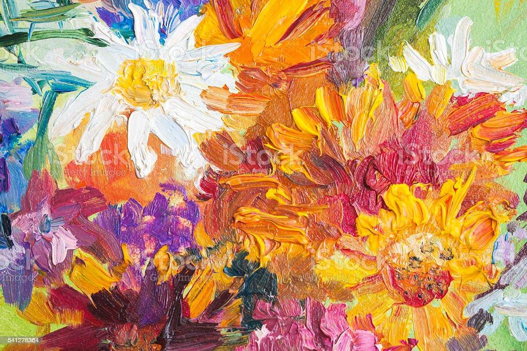 Oil painting, closeup fragment. Colorful bouquet – Foto