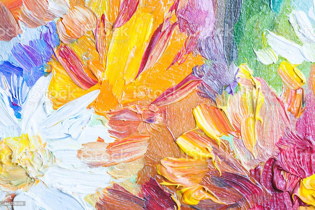 Oil painting, closeup fragment with colorful bouquet – Foto