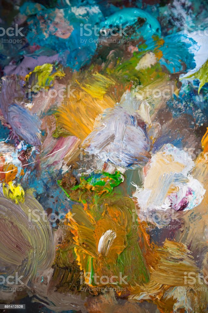 oil painting color mixtures in The palette stock photo