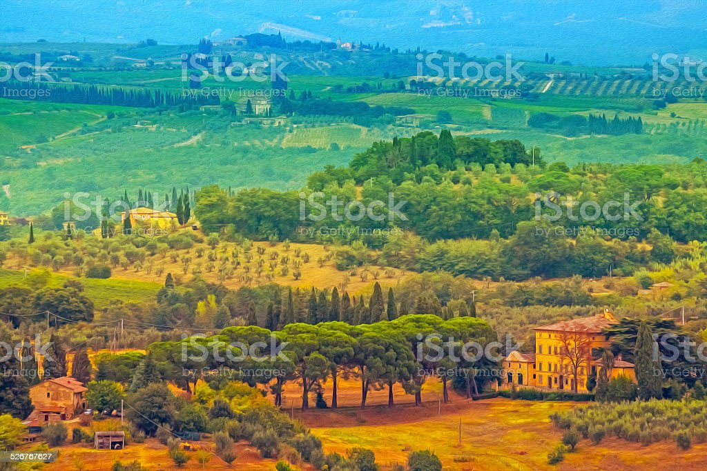 Oil painting filtered picture of Tuscany landscape, Italy. stock photo