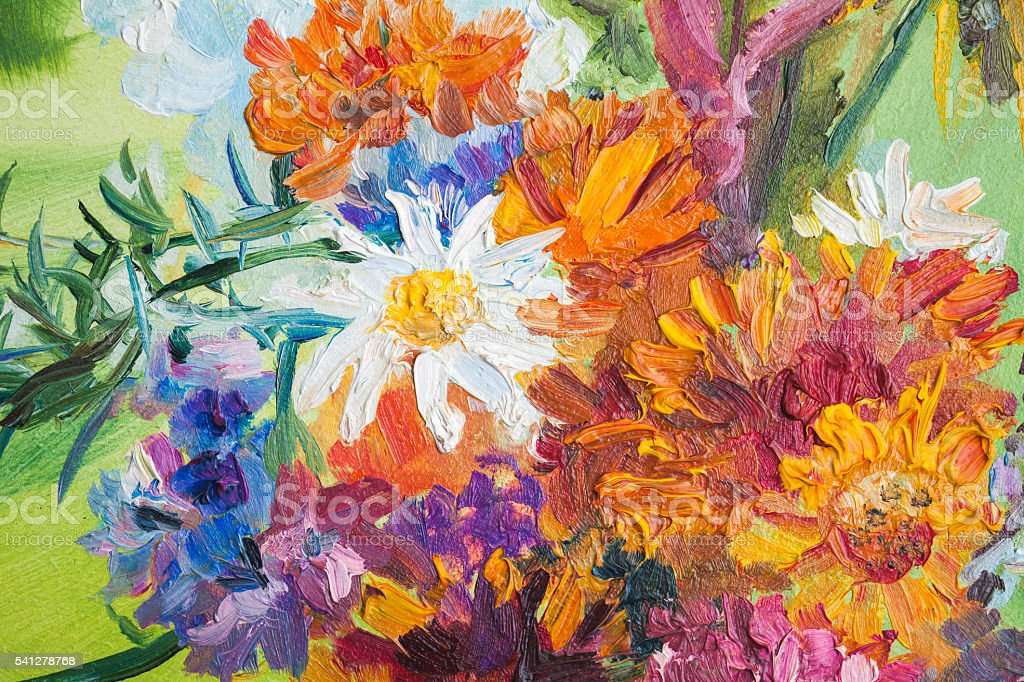 Oil painting fragment with summer bouquet – Foto