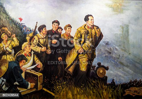 Oil painting in the style of Socialist realism in art depicting Chairman Mao as the leader of the people, Suzhou, Jiangsu Province, China