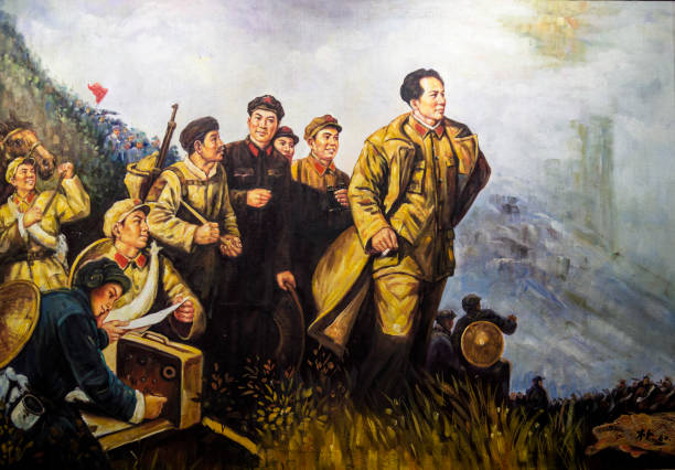 Oil painting in the style of Socialist realism Oil painting in the style of Socialist realism in art depicting Chairman Mao as the leader of the people, Suzhou, Jiangsu Province, China mao tse tung stock pictures, royalty-free photos & images