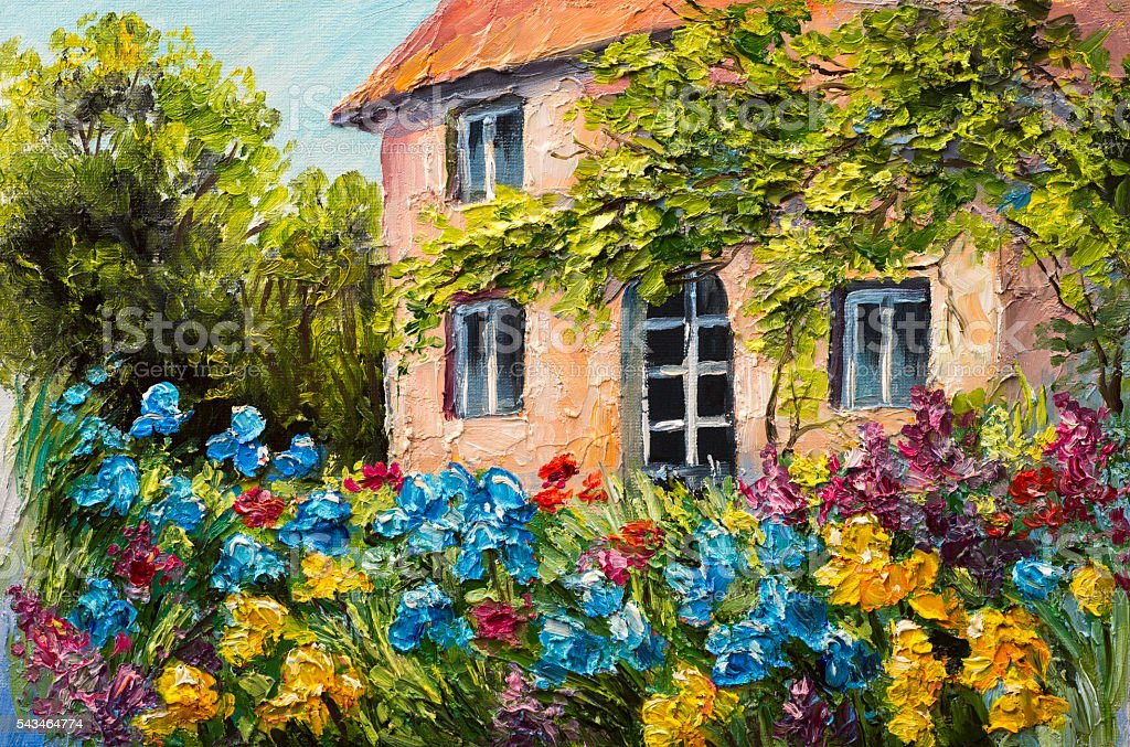 oil painting landscape, house in the flower garden, abstract – Foto