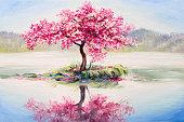 油絵風景、東洋の桜、桜湖