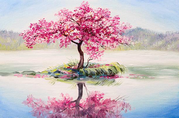 oil painting landscape, oriental cherry tree, sakura on the lake - bilder landschaften stock-fotos und bilder