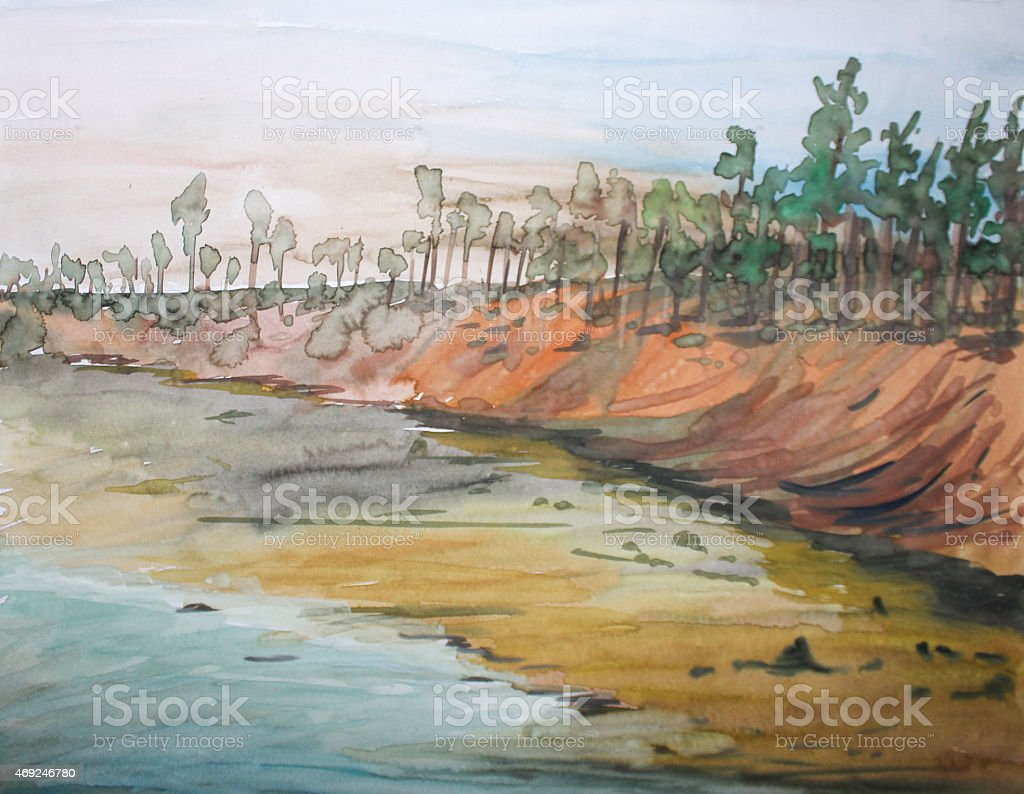 Oil painting landscape stock photo