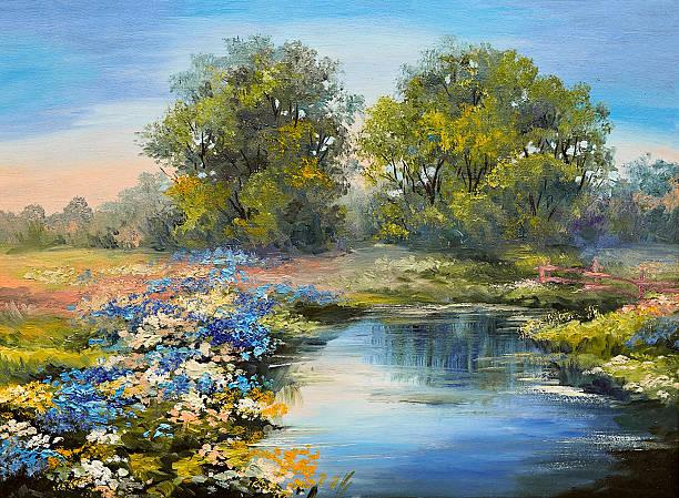 oil painting landscape - river in the forest, colorful fields - bilder landschaften stock-fotos und bilder