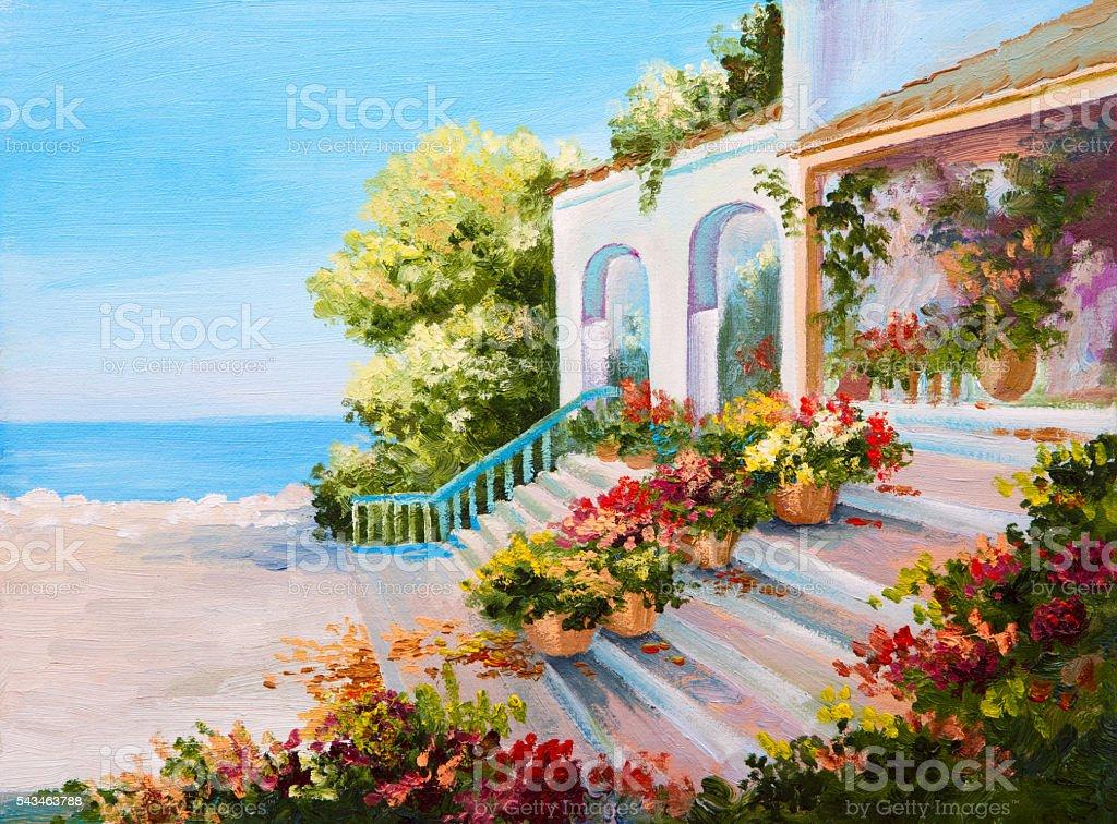 Oil painting landscape - terrace near the sea stock photo